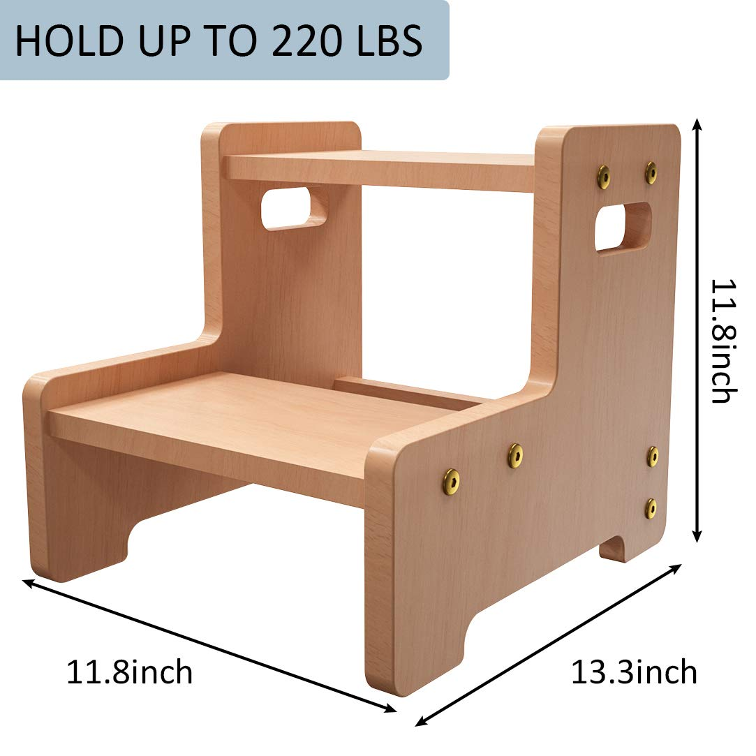 Amkoskr Toddler 2 Step Stool for Kids Wooden Step Childrens Stool with Handles for Toilet Potty Training Bedroom Kitchen Toy Room and Living Room Bathroom