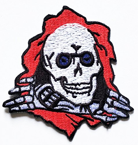 Powell Ripper Skull Deathhead Skateboard Bones Blue Eyes patch Motorcyle Bike Novelty Patch Biker Motorcycle Rider Patch Jacket T Shirt Patch Sew Iron on Embroidered Symbol Badge Cloth Sign Costume