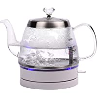 1L Glass Electric Kettle,Eco Water Kettle with Illuminated Led, Bpa Free Cordless Water Boiler with Stainless Steel…