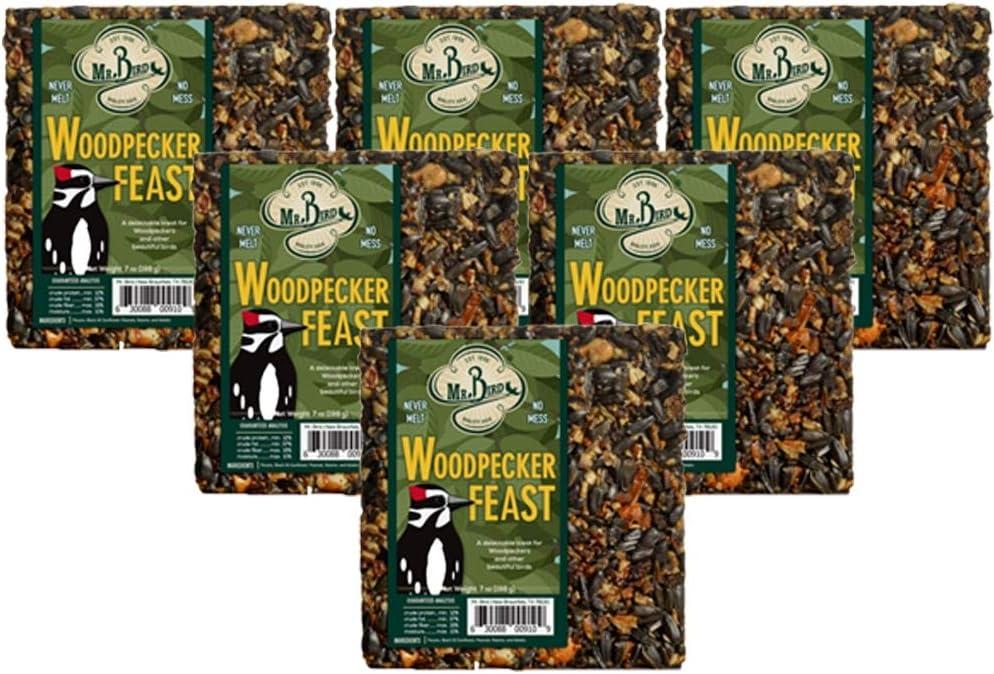 6-Pack of Mr. Bird Woodpecker Feast Small Wild Bird Seed Cake 8 oz.