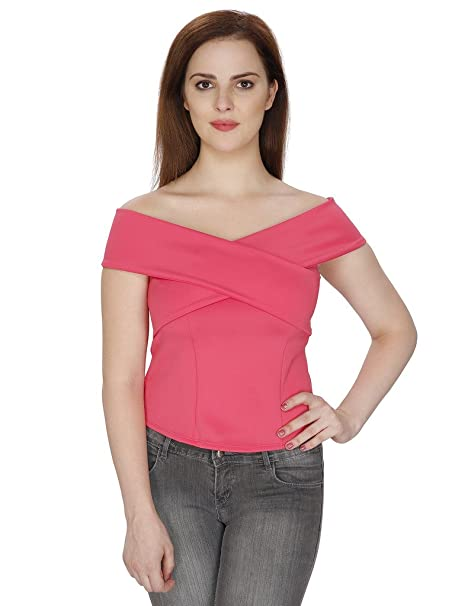 bdc26245f82 SVT ADA COLLECTIONS Pink Color Lycra V-Neck Off-Shoulder Designer TOP  (53004_Pink_Medium): Amazon.in: Clothing & Accessories