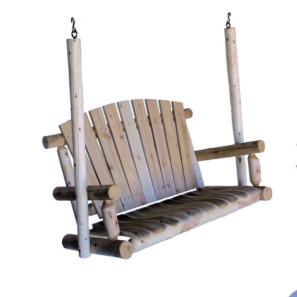 Lakeland Mills 4-Foot Cedar Log Porch Swing, Natural by Lakeland Mills