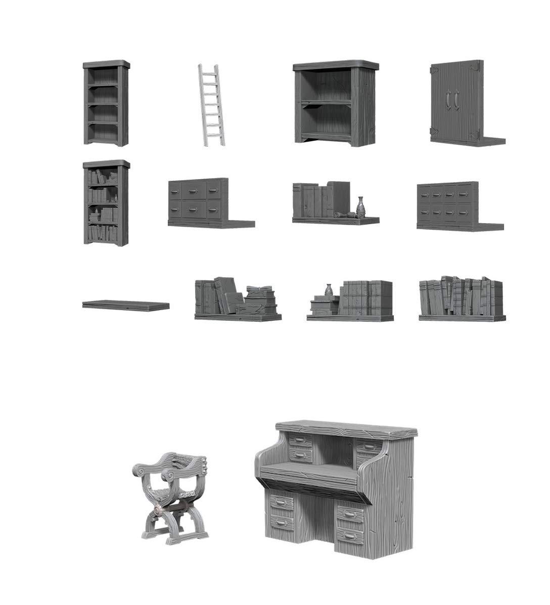 Wiz Kids Deep Cuts Unpainted Miniatures Bundle: Archivist Library + Desk & Chair
