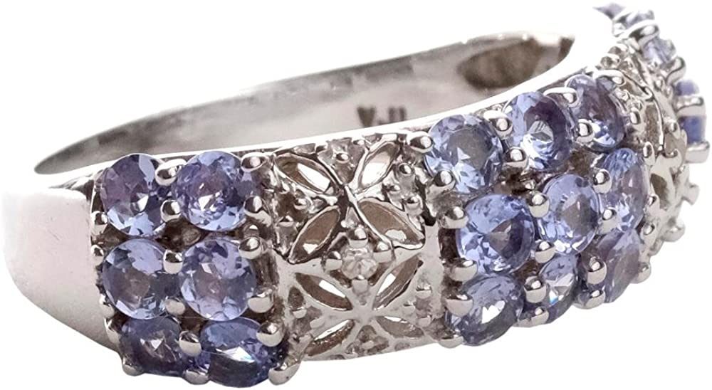 Natural Tanzanite White Topaz 925 Sterling Silver Rings Silver Jewelry