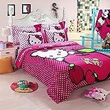 Hmlover Soft Polyester Cartoon 3D Print Bedding Set 4pcs,Durable,Queen Size , 1duvet cover,2pillowcases,1bed sheet Hello Kitty Dots 2m/200x230cm/78.8'x90.62'