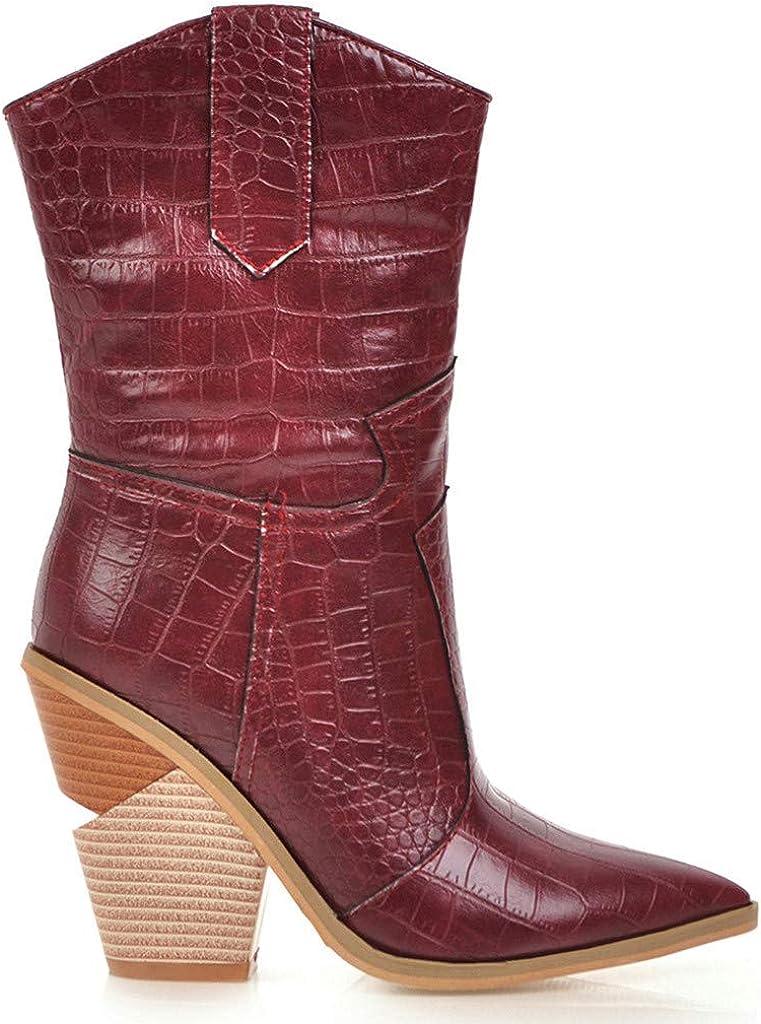 Ashui Bottes De Cowboy Brod/éEs Confortables De Femmes Mod/èLe De Crocodile /à La Mode A Soulign/é Les Bottes De Femmes /à Talons Hauts Outdoor R/étro Dame Shoes Hiver Chaussures