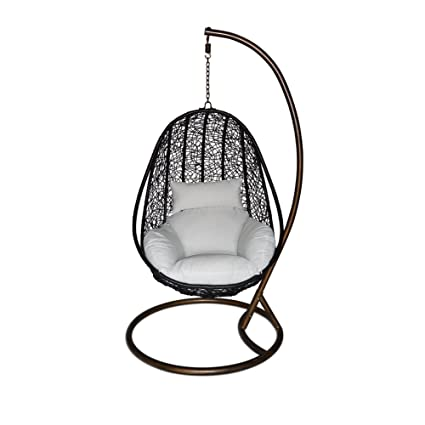 Ucharge Outdoor Wicker Swing Chair Hanging Chair Hammock With Cushion Patio  Swing Chair   Black