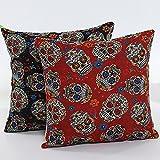 L&J.ART® 2 PCS 18'' Black & Orange Floral Mexican Skulls Day of the Dead Pillow Case Cushion Cover 2DS1