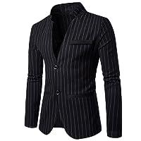 Rera Men's Single Breasted 2 Button Blazer Cotton Casual Striped Slim Fit Coat