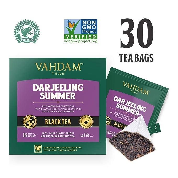 Té negro Darjeeling de Himalaya (30 bolsitas de té) | Cafeína Media, Té de Alta Energía ...