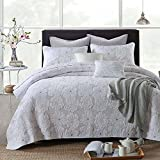 Oversized King Duvet Covers 118 X 98 3-Piece Comforter Set, Flower Embroidery Quilt Set, Bedspread Set, White (King)