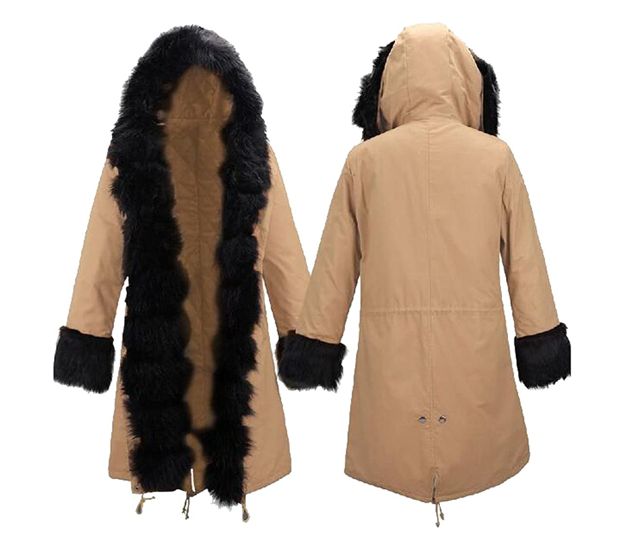 Ovetour Womens Faux Fur Lined Parka Coats Outdoor Winter Long Hooded Jacket