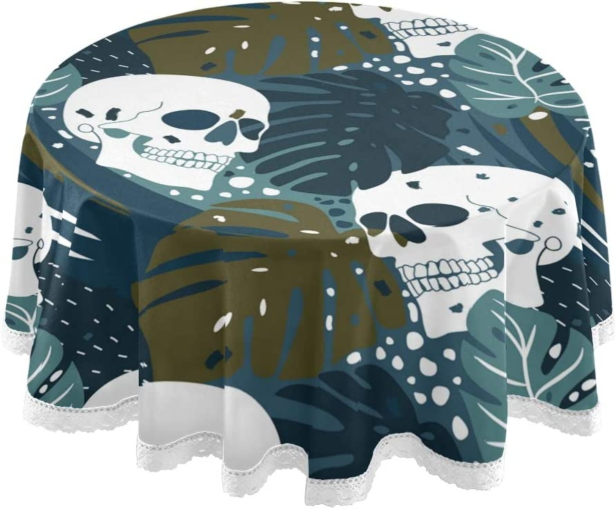 """Godfery Gabriel Round Tablecloth Skulls Tropical Monstera Leaves Round Lace Table Cloth Fabric Circular Table Cover for Holiday Home Party Picnic Coffee Dining Table Decorations 60"""""""