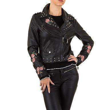 d2de9d7e395e25 Damen Jacke Bestickte Lederjacke Imitat Bikerjacke Motorrradjacke Sommerjacke  Übergangsjacke Herbstjacke Schwarz 36: Amazon.de: Bekleidung
