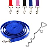 """Ardisle Dog Camping Ground Garden Tie Out Screw Stake Spike Post Anchor 10ft Cable Lead Metal Spiral Spike 16"""" Screw Down Camping Dog Pet lead Garden Anchor Tie Up otating Dog Tie Out/Leash/Stake for Travel, Outdoor Enthusiasts, Camping, Sporting"""