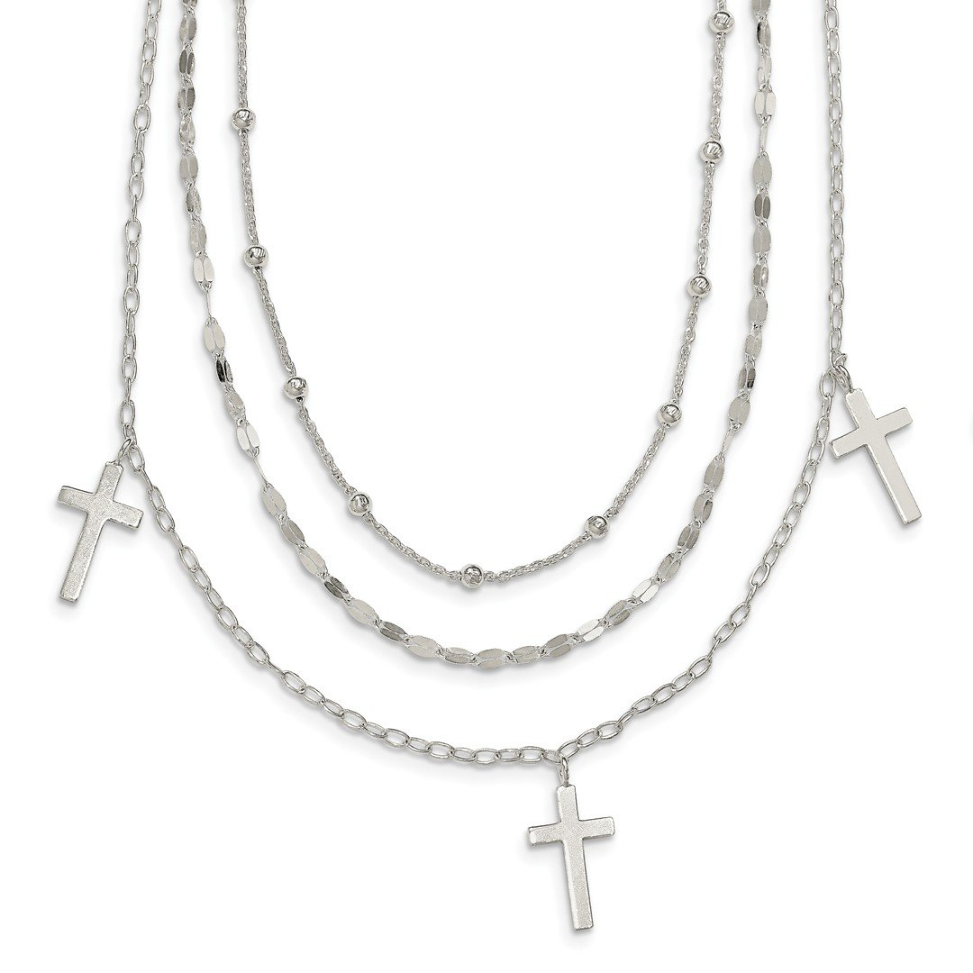 ICE CARATS 925 Sterling Silver Bead 3 Cross Religious Strand Layered Chain Necklace Pendant Charm Fine Jewelry Ideal Gifts For Women Gift Set From Heart