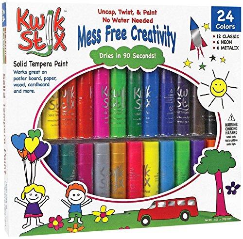 pencil-grip-kwikstix-solid-tempera-paint-24ct-super-quick-drying-12-classic-6-neon-6-metallix-colors