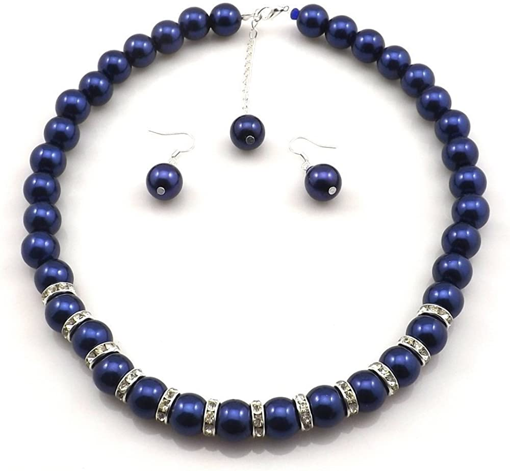 Amazon Com Millennium Design Large Faux Blue Pearl Necklace And Earring Set Jewelry