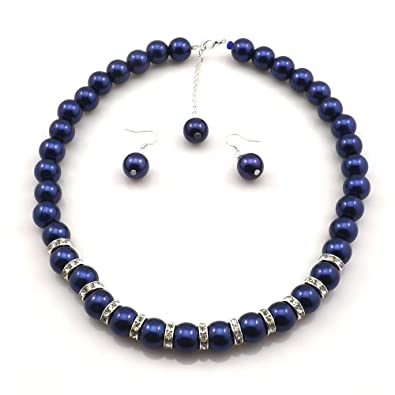 009bd0eee Amazon.com: Large Faux Blue Pearl Necklace and earring set By ...