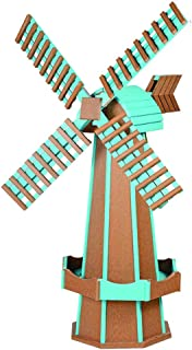 product image for DutchCrafters Decorative Poly Two-Tone Windmill (Large, Cedar/Aruba Blue)