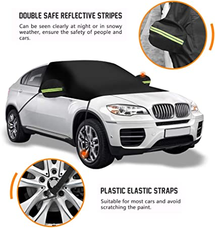 SUV Truck Van 96x77x65 ELUTO Car Windshield Sun Shade Cover Sun Blocker for Car Windshield Sunshade Half Car Cover with Hook and Straps Fit Most Car