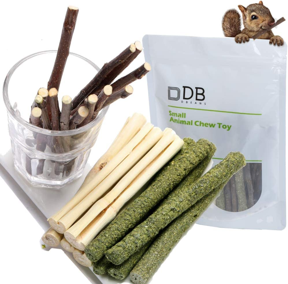 Dbeans Flourithing 3 Types of Combined Chew Toys Molar Sticks Sweet Bamboo Apple Branch Timothy Grass for Pets Chinchilla Squirrel Gerbil Hamster Squirrel Guinea Pigs