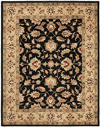 (Safavieh Heritage Collection HG957A Handcrafted Traditional Oriental Black and Gold Wool Oval Area Rug (7'6