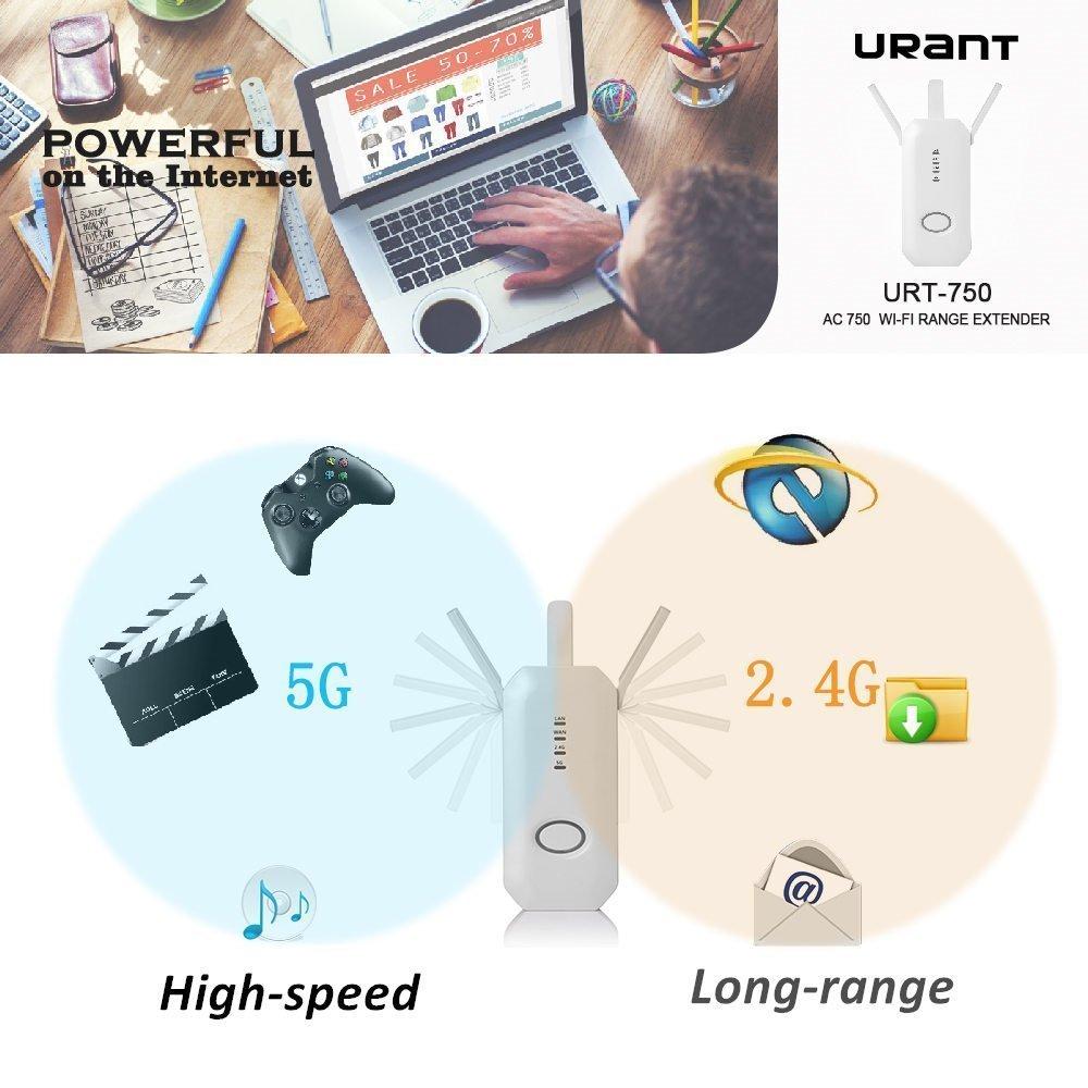 750Mbps Wifi Router/Repetidor/AP Extensor Booster Rango Mini AP Hotspot Punto de Acceso 5.0GHz/2.4GHz Amplificador de señal Adaptador de red con tres ...