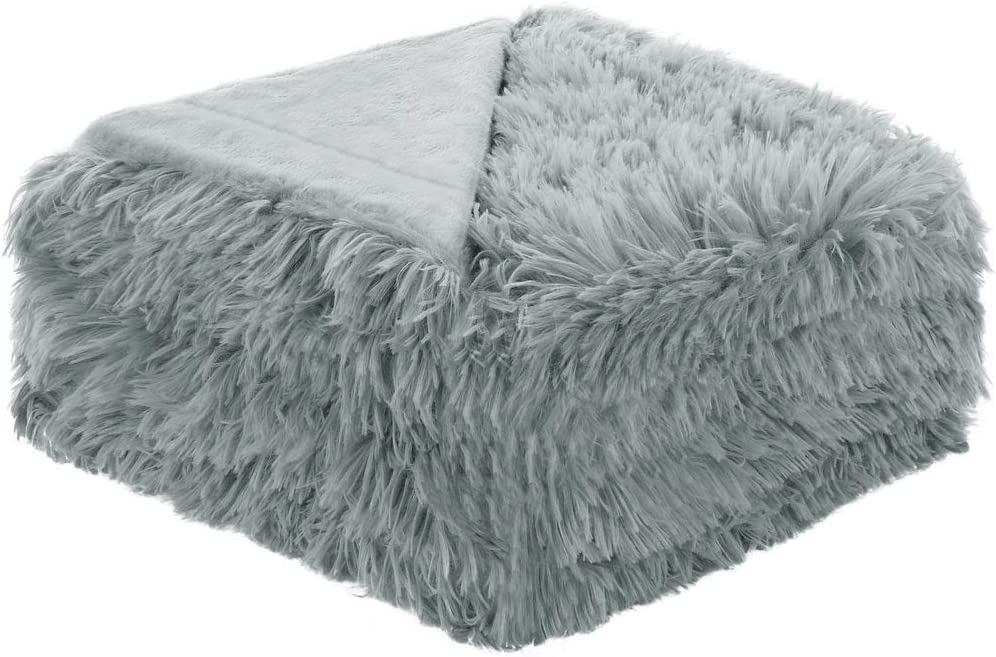 """uxcell Solid Faux Fur Throw Blanket 50"""" x 60"""" - Decorative Fuzzy Long Shaggy Blankets Lightweight Long Fur Microfiber Fleece Blanket for Couch and Sofa - Keep Warmth for Years,Gray"""