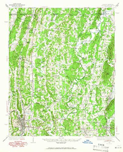 YellowMaps Dalton GA topo map, 1:62500 Scale, 15 X 15 Minute, Historical, 1938, Updated 1965, 20.7 x 16.8 in - Tyvek (Ga Cohutta)