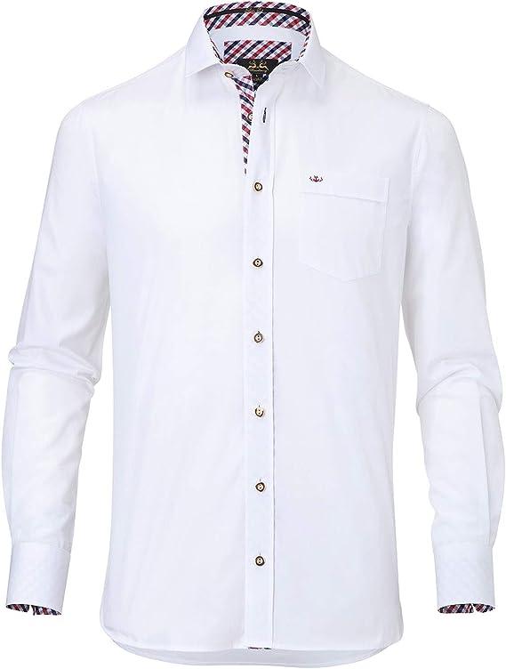 Wiesnkönig Herren Niklas Trachtenhemd, Mehrfarbig weiß rot Marine 728, Kragenweite 37 cm ...
