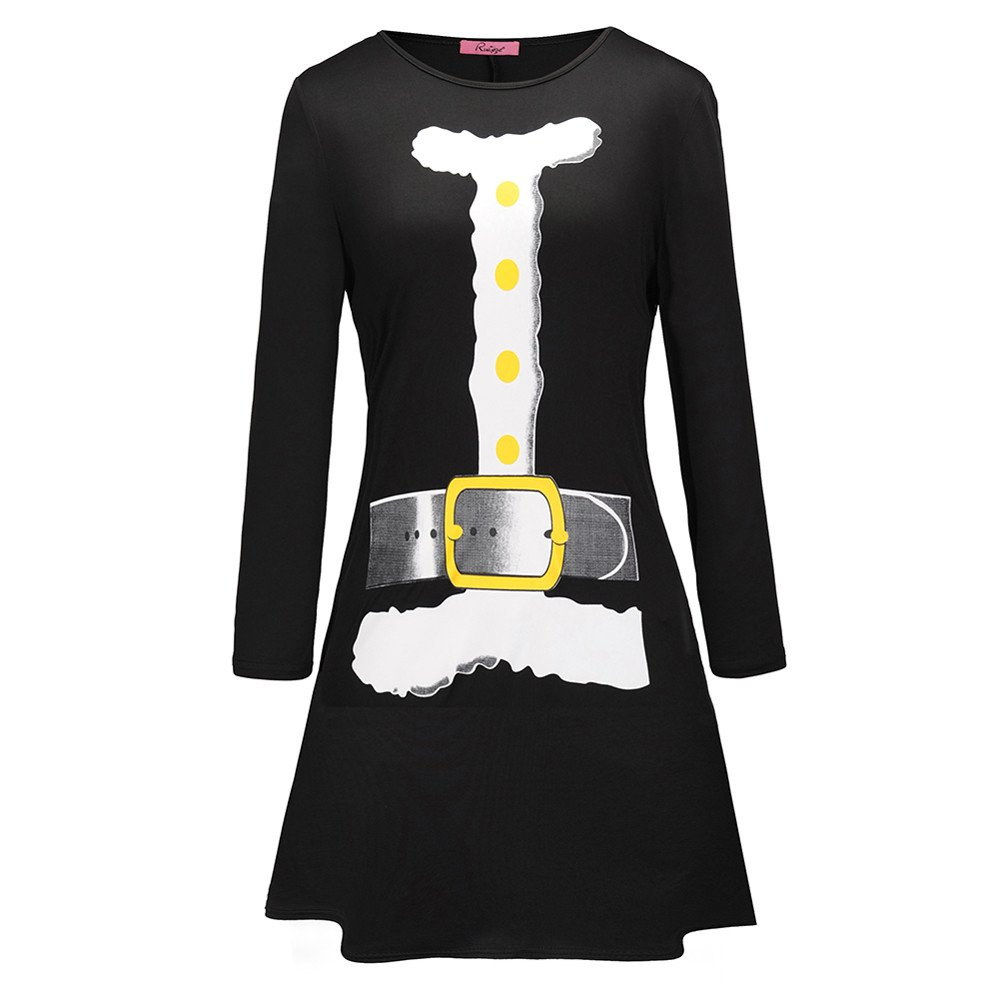 CZYCO Dress, Women's Vintage Christmas O-Neck Letter Printed A-Line Swing Long Sleeve Mini Dress