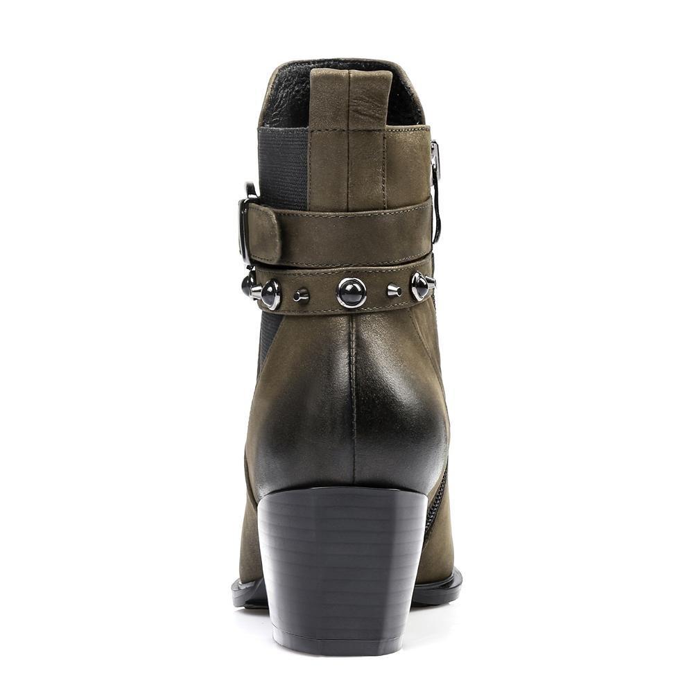 Frau Hoher Absatz Leder Leder Leder Stiefel. Innerhalb Plüsch Niet Schnalle Seite Reißverschluss Schuhe. Schwarz Armeegrün. Größe 34-42 B077S454GW Tanzschuhe Einfach d29104