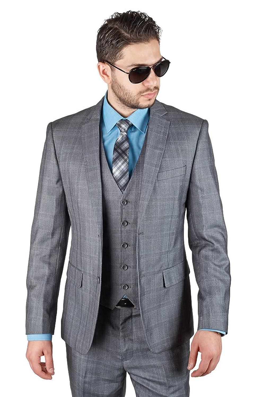 Slim Fit 3 Piece Vested Plaid Grey Suit 2 Button Notch Lapel By ...