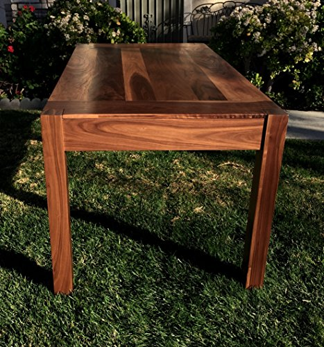Parsons-style walnut dining table