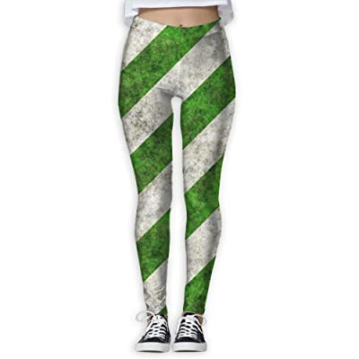 LuckYYou Green White Striped Soccer Field Summer Leggings For Youth L