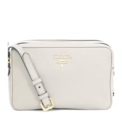 b59964a073aa Prada Women s White Vitello Phenix Leather Crossbody HandBag 1BH079   Handbags  Amazon.com