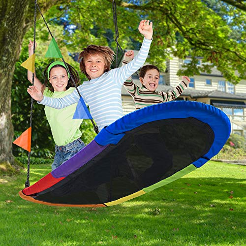 Sorbus Saucer Swing Surf – Kids Indoor/Outdoor Giant Oval Platform Swing Mat – Great for Tree, Swing Set, Backyard, Playground, Playroom – Accessories Included – Multi-Color Rainbow (Oval Surf Swing) by Sorbus (Image #2)