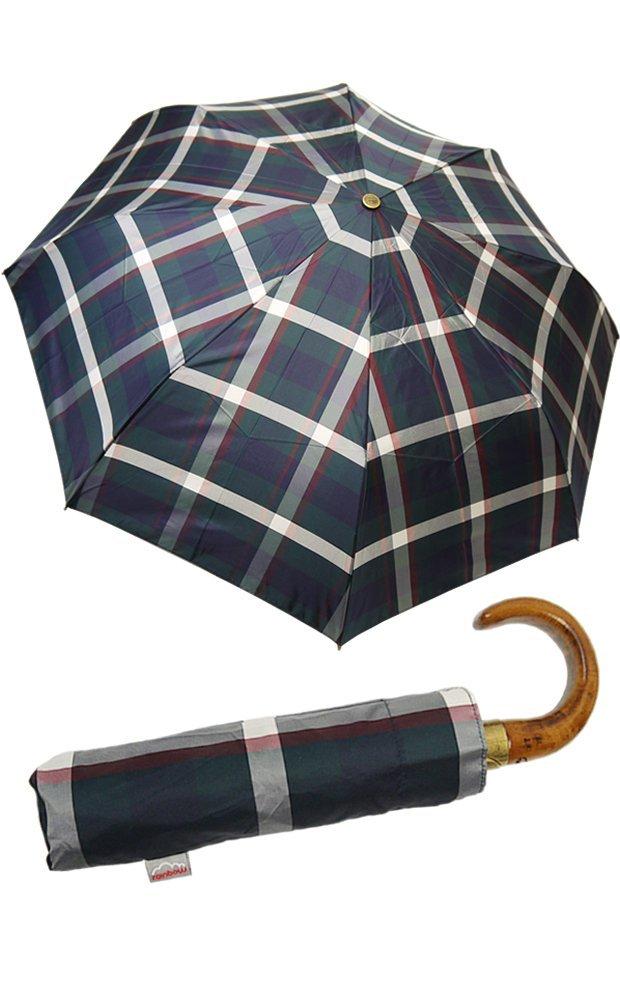 イタリアミラノ老舗傘ブランド【rainbow/レインボー】折りたたみ傘 雨傘 ワンタッチオープン 天然木 ウッドハンドル ギフトにも最適(全5色) B008CMXEPG ネイビーチェックスモーク ネイビーチェックスモーク
