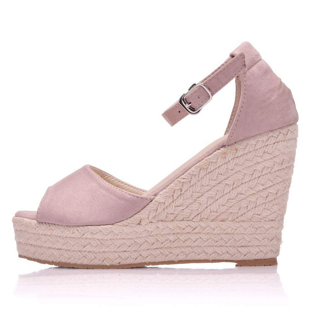 SSYUNO Womens Summer Bohemian Espadrille Platform Wedge Sandals Ankle Strap Open Toe Beach Dress Comfy Shoes Pink by SSYUNO (Image #3)