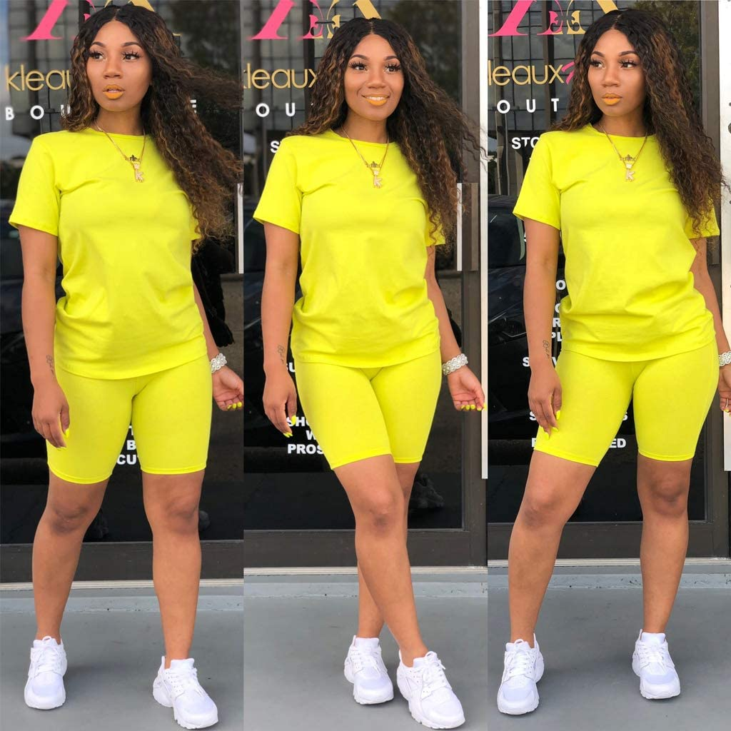 Skinny Short Pants Jogging Suits Rompers Tracksuit Set Short Sleeve T Shirts Women Two Piece Outfits Sets