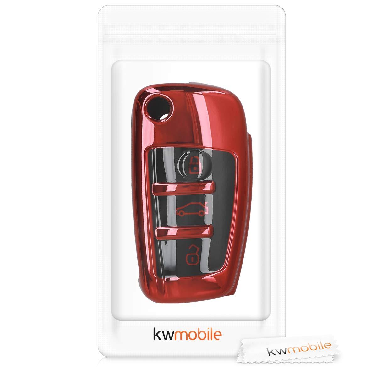kwmobile Funda para Mando de Audi con dise/ño dise/ño de Rally Carcasa para Llave del Coche Llave Plegable de 3 Botones para Coche Audi