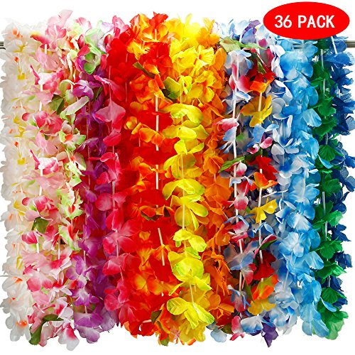 ThinkMax 36 Pcs Hawaiian Luau Leis Silk Flower Necklace Wreaths Headbands with Tropical Lays Design for Beach Theme Party Wedding & Birthday - Flowers Wedding Theme