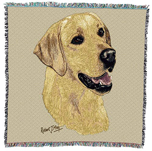 (Pure Country Weavers - Labrador Retriever Yellow Woven Throw Blanket with Fringe Cotton. USA Size)