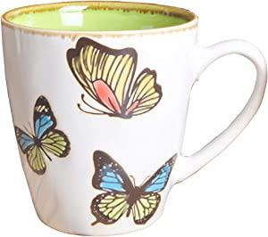 11oz Hand Drawing Butterfly Ceramic Coffee Mug for Women, Great Gifts Coffee Cup (green)