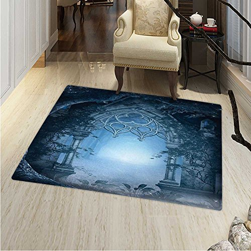 Passage Doorway Through Enchanted Foggy Magical Palace Garden at Night View Circle Rugs Living Room 4'x5' Navy Blue Gray ()
