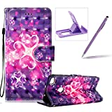 Rope Leather Case for Huawei P8 Lite 2017,Stand Wallet Flip Case for Huawei P8 Lite 2017,Herzzer Bookstyle Stylish 3D Hearts Flower Pattern Magnetic PU Leather with Soft Silicone Inner Back Case for Huawei P8 Lite 2017