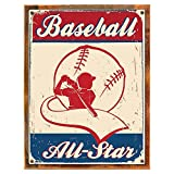 Cheap Wood-Framed Baseball All Star Metal Sign, All American Sport, Contemporary Gym Den, Man C… on reclaimed, rustic wood