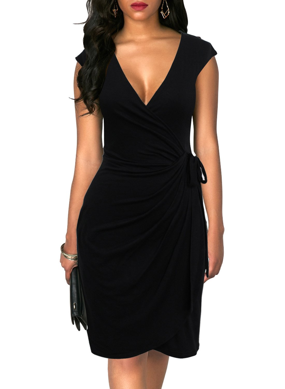 Berydress Women's Vintage V-Neck Sheath Casual Party Work Faux Black Wrap Dress