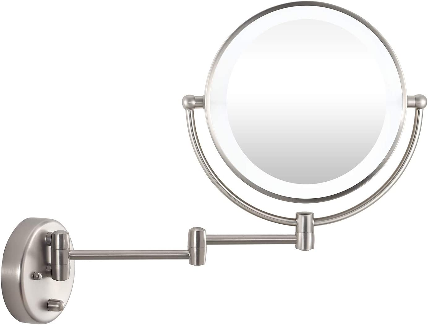 """WINGBO 9"""" LED Lighted Makeup Mirror, Swing Arm Wall Mounted Shaving Mirror Lamp with Swivel Double Sided 1x 8X Magnification for Vanity Bathroom Bedroom, Silvery"""